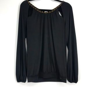 Guess black long sleeved shirt gold chain large